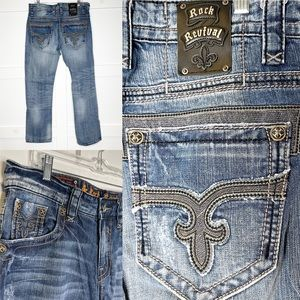 Rock Revival Victor Straight Jeans 33 x 34 Buckle